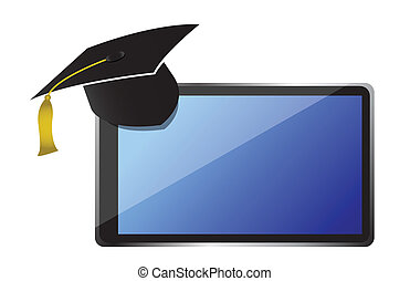 Graduate cap sitting on top of tablet
