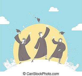Graduate Celebrate Throw Caps Illustration