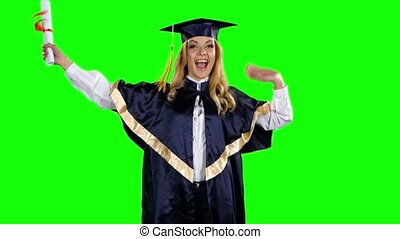 Graduate celebrates getting a diploma. Green screen - Happy...