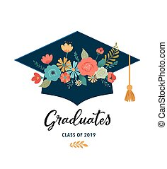 Graduate class of 2019. Caps and flowers on a white ...