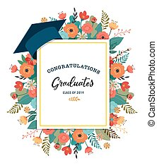 Graduate class of 2019. Caps and flowers on a white background. Vector illustration, banner design