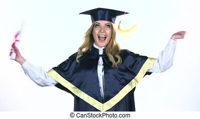 Graduate dancing with diploma in hand. White. Slow motion