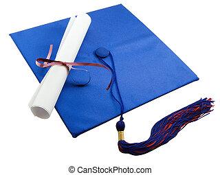 Graduate - Diploma set on a graduation cap, isolated on...