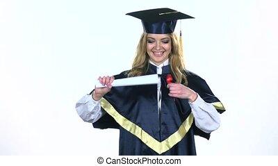Graduate diploma with ribbon. White. Slow motion - Graduate...