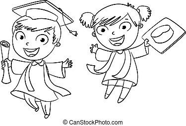 graduate., divertido, caricatura, carácter