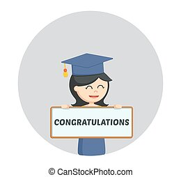 graduate female student with congratulation sign in circle background