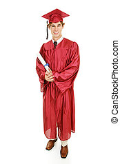 Graduate Full Body - Handsome young graduate in his cap and...