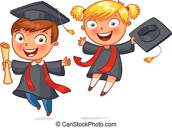 Graduate. Funny cartoon character. Vector illustration....