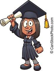 Graduate Girl - Cartoon graduate girl. Vector clip art...