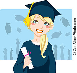 Graduate Girl - Young blond woman smiling celebrating...