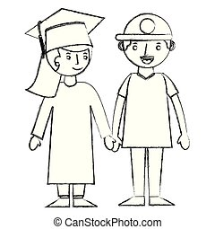 graduate girl holding hand her brother