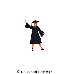 Graduate girl in a mantle with a raised diploma in hand vector illustration in a flat cartoon style