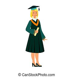 Graduate girl in the mantle holding graduation diploma scroll. Colorful cartoon illustration