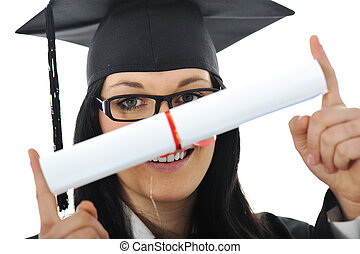 Graduate girl student in gown with diploma