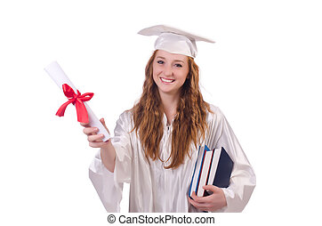 Graduate girl with diploma and books  isolated on white