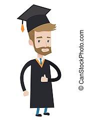 Graduate giving thumb up vector illustration.