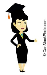 Graduate giving thumb up vector illustration.