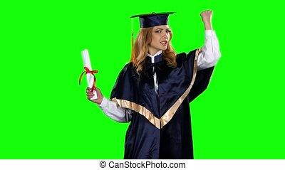 graduate., grün, schirm, tanzen