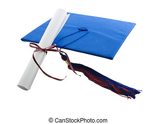 Graduate - Graduation cap, tassel, and diploma isolated on...