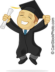 Graduate - Happy graduate celebrating vector cartoon...
