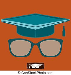 Graduate hat and glasses with diopters. Education for money. A student of the school.