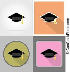 graduate hat flat icons vector illustration