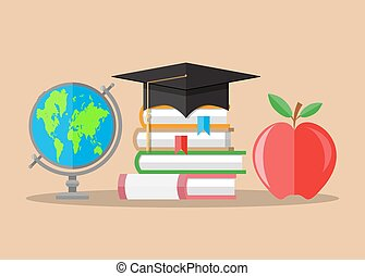 Graduate hat, globe, books, apple. education