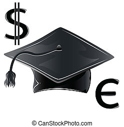 graduate hat, illustration currency
