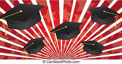 graduate hat over red background vector illustration