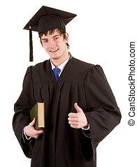 Graduate holding a book