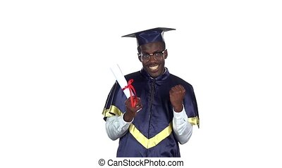 Graduate holding a diploma. Slow motion. White - Student in...