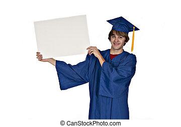 graduate holding sign