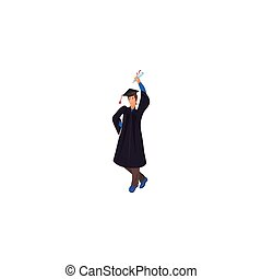Graduate in a mantle with a raised diploma in hand vector illustration in a flat cartoon style