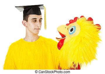 Graduate in Chicken Suit