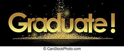 graduate in golden stars background
