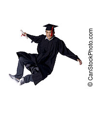 Male graduate leaping with great joy