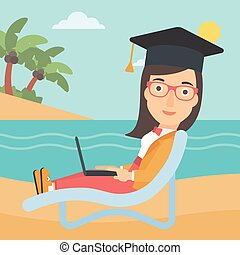 A woman in graduation cap lying in chaise long with laptop on the beach vector flat design illustration. Square layout.