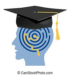 Graduate - Male head silhouettes with maze and mortarboard ...