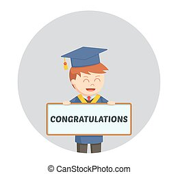 Congratulations card template with man in graduation gown eps graduate male student with congratulations sign in circle background pronofoot35fo Image collections