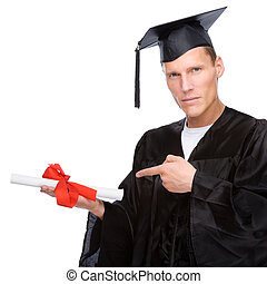 Graduate man - Full isolated studio picture from a young ...