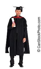 Graduate man holding a diploma
