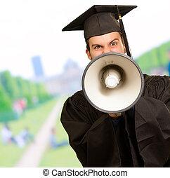 Graduate Man Holding Megaphone