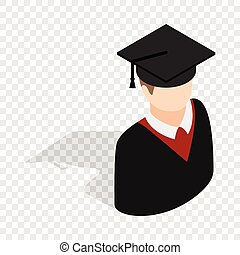 Graduate man in cap and gown isometric icon