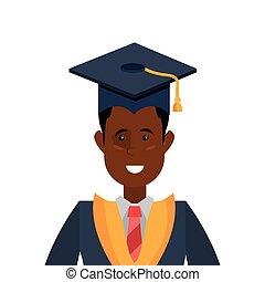 graduate man portrait with graduation hat
