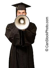 Graduate Man Shouting Into The Megaphone - Graduate Man...