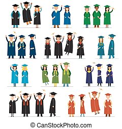 Graduate people flat silhouette vector icons