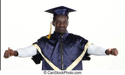 Graduate pouts. Student is upset. White. Close up
