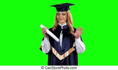 Graduate. Presentation of diplomas. Green screen