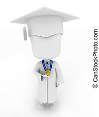 Graduate Proudly Showing His Medal