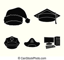 Graduate, santa, police, pirate. Hats set collection icons in black style vector symbol stock illustration web.